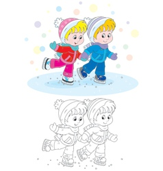 Children skating vector