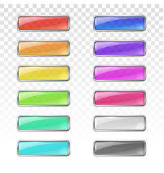 colored glass buttons with metal frame vector image
