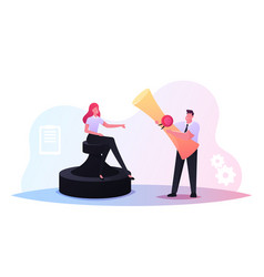 contract conclusion tiny business characters with vector image