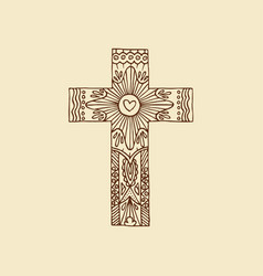 Cross lord jesus christ hand drawn vector