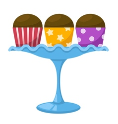 Cupcake in a glass cake stand vector