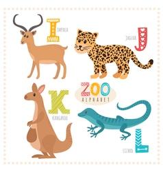 Cute cartoon animals Zoo alphabet with funny vector image