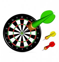 Dartboard with darts vector