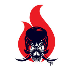 Devil sign horned skull in flames classic style vector