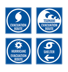 evacuation route and shelter in case of tsunami or vector image