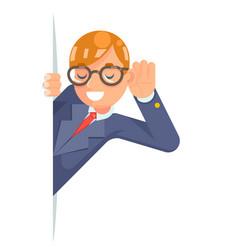 Eyeglasses eavesdropping ear hand listen overhear vector