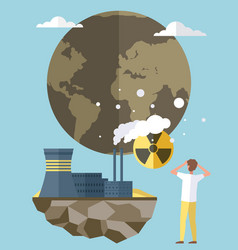 Factories and smoke pollute planet earth vector