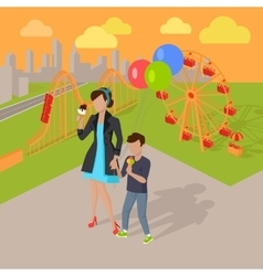 Family Holiday in the Amusement Park Concept vector