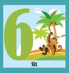 Flat animal numbers 6 vector