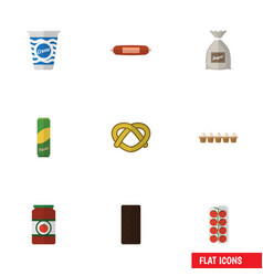 Flat icon eating set of yogurt sack tomato and vector
