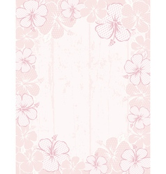 Frame of hibiscus on pink background vector