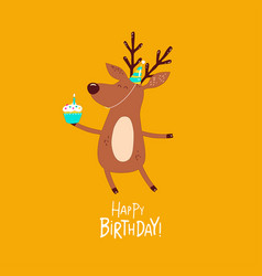 funny deer wishes a happy birthday vector image
