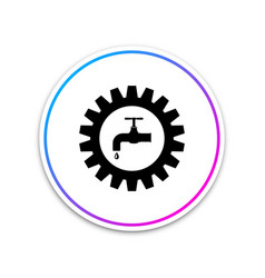 Gearwheel with tap icon on white background vector