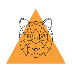 Geometric head tiger wild animal vector