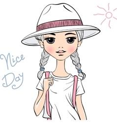 girl traveler in white hat vector image