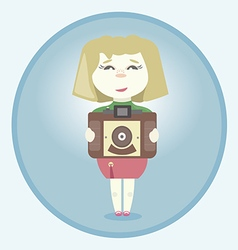 Girl with retro camera vector image