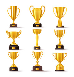 golden cup award champion winner trophy prize vector image