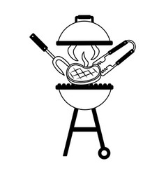 grill barbecue fork tongs and meat vector image