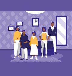 Group of black family members in the livingroom vector