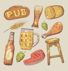 hand drawn traditional pub beer doodle vector image