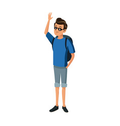 happy young man with sunglasses traveler standing vector image
