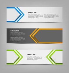 Horizontal banners with abstract colored arrows vector image