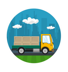 Icon of small cargo truck with boxes vector