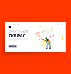 International kids day or peace day landing page vector