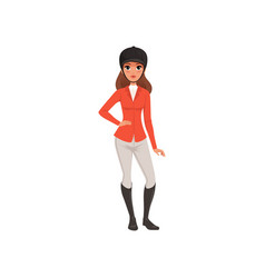 Jockey girl in red costume equestrian vector