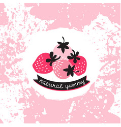 Label with pink and red strawberry on the splashes vector
