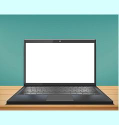 laptop with white screen stands on a wooden table vector image