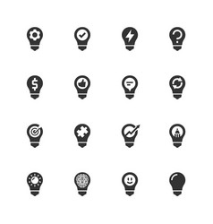 light bulb concept icons in glyph style vector image