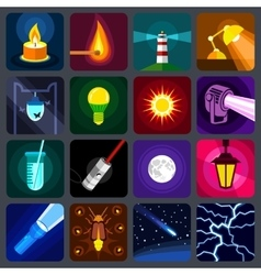Light source icons set flat style vector