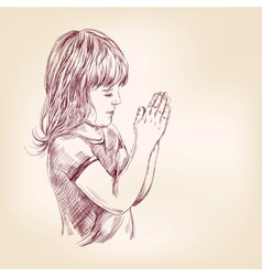 Little girl praying hand drawn llustration vector
