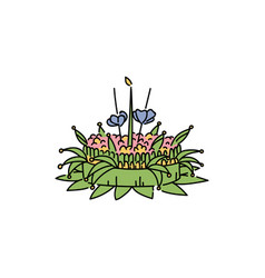 Loy krathong festival wreath or float vector