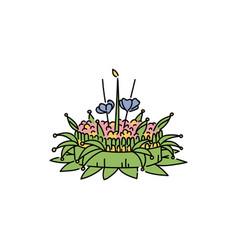 loy krathong festival wreath or float vector image