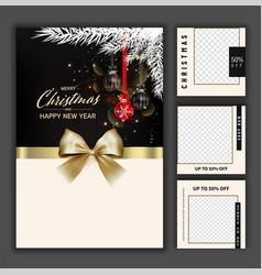 Luxury christmas social media golden and black vector