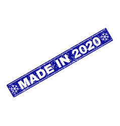 made in 2020 grunge rectangle stamp seal with vector image