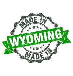 Made in wyoming round seal vector
