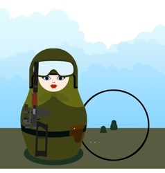 Matryoshka sniper with special weapons vector