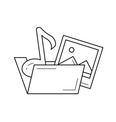Media folder line icon vector