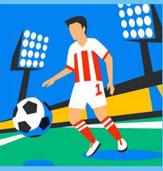 Midfielder player football player with football vector