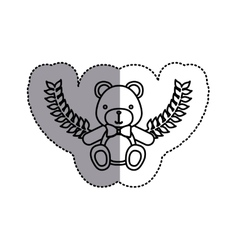 Monochrome contour sticker circle with teddy bear vector
