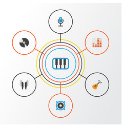 Music flat icons set collection of controlling vector