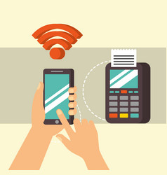 Nfc payment technology vector