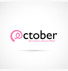 October typographical amp pink ribbon vector