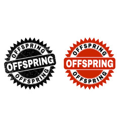 Offspring black rosette stamp with unclean style vector