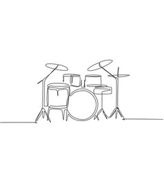 one single line drawing drum band set vector image