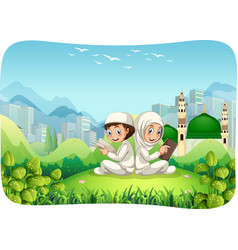Park outdoor scene with muslim sister and brother vector