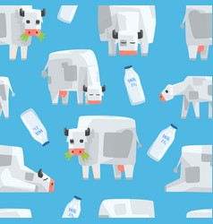 pixel cow and milk bottle seamless pattern vector image